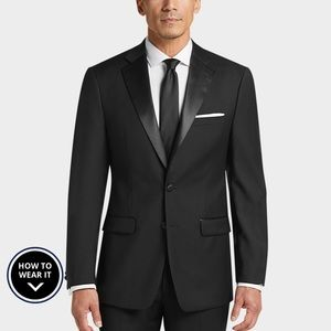 Calvin Klein X-Fit Black Slim Fit Tuxedo Jacket
